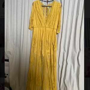 Yellow Lace Maxi Dress!
